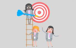 Business team working together. Dart. Dartboard.Isolated. royalty free stock images