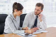 Business team working together on documents Stock Images
