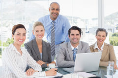 Business team working together on laptop Royalty Free Stock Photos