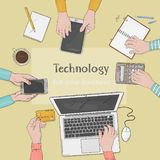Business team working together at office desk. Desktop with hands, laptop, smartphone, documents and tablet. The concept royalty free illustration