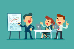 Business team working together in office. Business leader discussing business strategy with his team stock illustration
