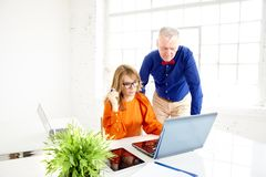 Business team working together in the office. Middle aged businesswoman and senior businessman working on new project royalty free stock images