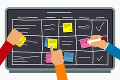 Business team working together with planning board. Hands writing on sticky notes on task board with table scheme. Vector royalty free stock image