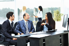 business team works with the financial documents Royalty Free Stock Photos