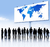 Business Team and World Map Billboard Stock Photography