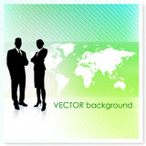 Business Team with World Map on Vector Background Stock Photography