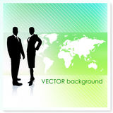 Business Team with World Map on Vector Background Royalty Free Stock Photo