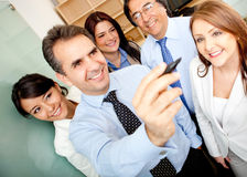 Business team writing on a screen Royalty Free Stock Photography