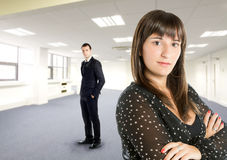 Business teams. A couple that grows in the business world by selling houses Royalty Free Stock Photography