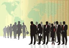 Business teams. Vector illustration of old and young traders Stock Photo