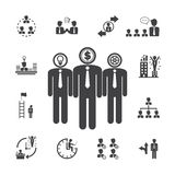 Business teams anagement icons Royalty Free Stock Images