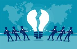 Business teams fighting for idea. Vector concept illustration of rival business groups competing for intellectual idea Royalty Free Stock Photography
