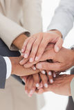 Business teams hands together Stock Images