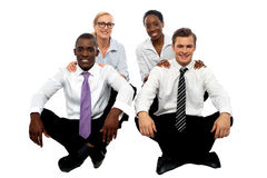 Business teams of two each. Healthy competition stock photography