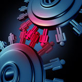 Business Teamwork. Group cooperation with two wheels made of gears or cogs as human worker symbols connected in a network as a group new success in finances Royalty Free Stock Photos