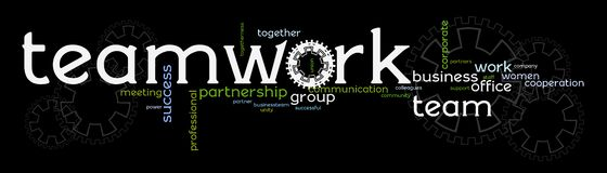 Business teamwork banner. A banner with words promoting business teamwork, cooperation, and success through working together