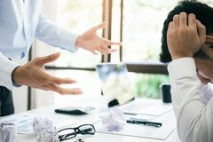 Business teamwork blaming partner and serious discussion royalty free stock photos