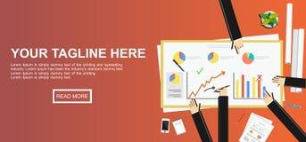 Business teamwork. Business statistics illustration. Statistics illustration. Flat design illustration concepts for statistics, meeting, business, finance Royalty Free Stock Image