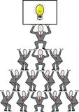 Business teamwork cartoon. Cartoon of businessmen forming a pyramid to illustrate teamwork and ideas Stock Photo