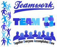Business Teamwork Clipart Set/eps. Illustrations and typography symbolizing teamwork in business stock illustration