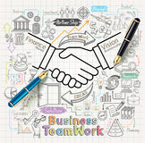 Business teamwork concept doodles icons set. Royalty Free Stock Photos