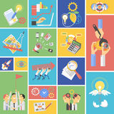 Business teamwork concept flat icons set Royalty Free Stock Image