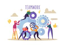 Free Business Teamwork Concept. Flat People Characters Running Gears Mechanism. Engineering Product Development Royalty Free Stock Photos - 123568578