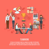Business teamwork concept flat poster Stock Photo