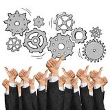 Business and teamwork concept. Group of hands of businesspeople showing gestures isolated on white royalty free stock image