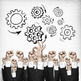 Business and teamwork concept. Group of hands of businesspeople showing gestures on wooden background royalty free illustration