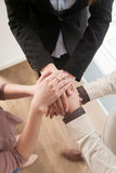 Business teamwork concept, top view of hands joined together, ve Royalty Free Stock Image