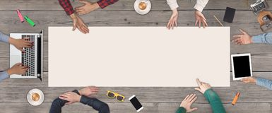 Free Business Teamwork Concept - Top View Of Six Business People. White Blank Sheet Of Paper In The Middle Of The Wooden Royalty Free Stock Photos - 102357988