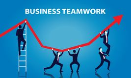 Business Teamwork Concept. Vector illustration of business teamwork, businessmen working together with arrow of succcess Royalty Free Stock Photo