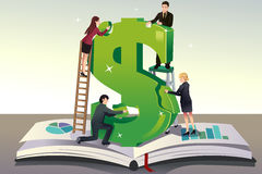 Business teamwork concept. A vector illustration of group of young businessman solving puzzle for a teamwork concept Stock Photography