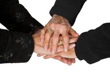 Business teamwork - female hands together 4 Royalty Free Stock Image