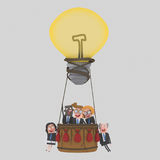 Business teamwork flying on aerostatic globe idea. 3D. 