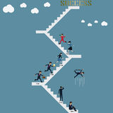Business teamwork follow the leader for success - Vector. Illustration Stock Photos