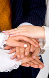 Business teamwork hands Stock Photo