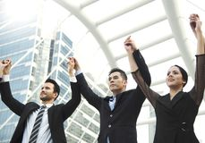Business teamwork hands up. concept celebration success. For work Stock Image