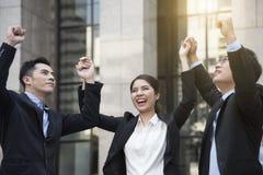 Business teamwork hands up. concept celebration success. For work Stock Photos