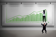 Business teamwork help push profit vector illustration