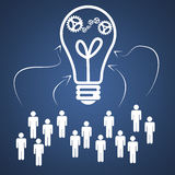 Business teamwork idea. White light bulb with gears and teamwork Stock Images