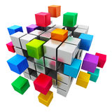 Business teamwork, internet and communication conc. Creative abstract business teamwork, internet and communication concept: colorful cubic structure with Royalty Free Stock Photos