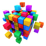 Business teamwork, internet and communication conc. Creative abstract business teamwork, internet and communication concept: colorful cubic structure with Royalty Free Stock Photo