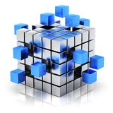 Business teamwork, internet and communication conc. Creative business teamwork, internet and communication concept: metal cubic structure with assembling blue Royalty Free Stock Images