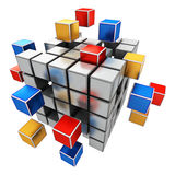 Business teamwork, internet and communication concept. Creative abstract business teamwork, internet and communication concept: colorful cubic structure with Stock Image