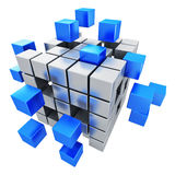 Business teamwork, internet and communication conc. Creative abstract business teamwork, internet and communication concept: metal cubic structure with Stock Images