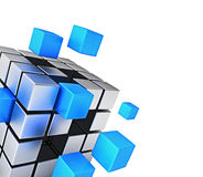 Business teamwork internet communication concept. Cubes assembling into metal cubic structure isolated on white close up with copy space Royalty Free Stock Image