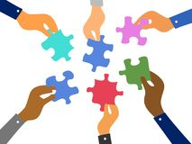 Business teamwork jigsaw puzzles concept. Isolated business hands raising jigsaw puzzles pieces on white background Stock Photo
