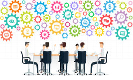 Business teamwork meeting on colorful gear process Royalty Free Stock Photo